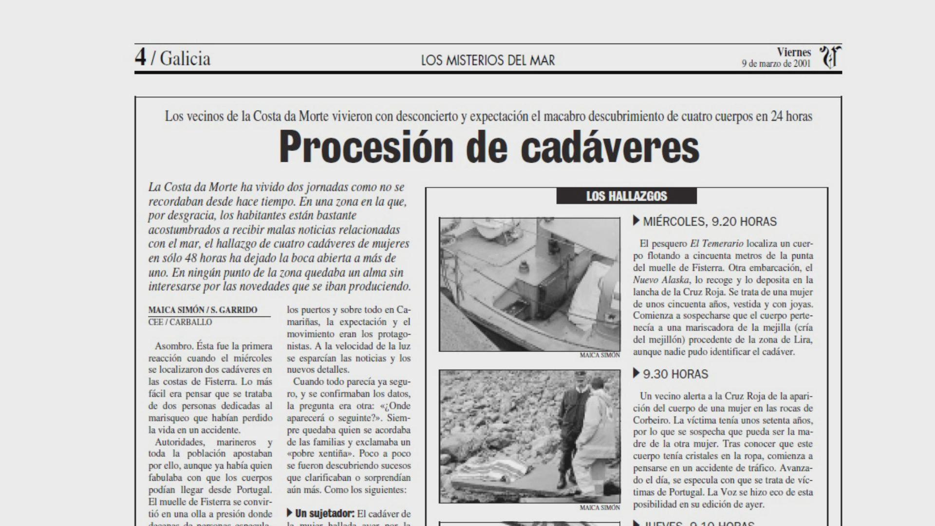 Página de La Voz en la que se narra el desconcierto vivido en la Costa da Morte
