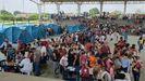 Los venezolanos desplazados fueron acogidos en un polideportivo de la localidad fronteriza de Arauquita (Colombia)