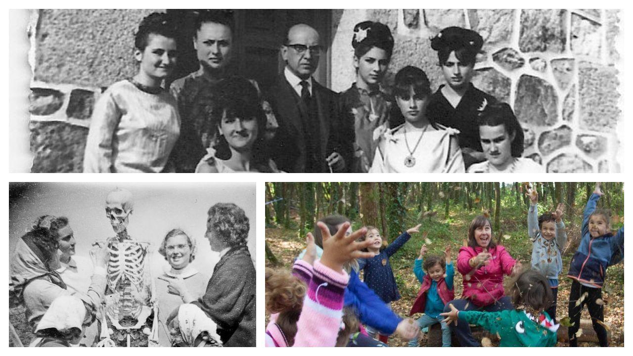 Dúas fotos antigas do Colexio Fingoi, do que foi director e mestre Carvalho Calero (arriba, entre alumnas do centro), e unha actual da escola da natureza Nenea, que recolle a semente e aplica o mesmo lema: «Educar para a vida»