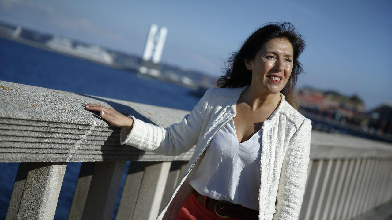 Así fue el debate definitivo de los candidatos a la alcaldía de A Coruña.Inés Rey, en la plaza Maestro Mateo, en A Coruña