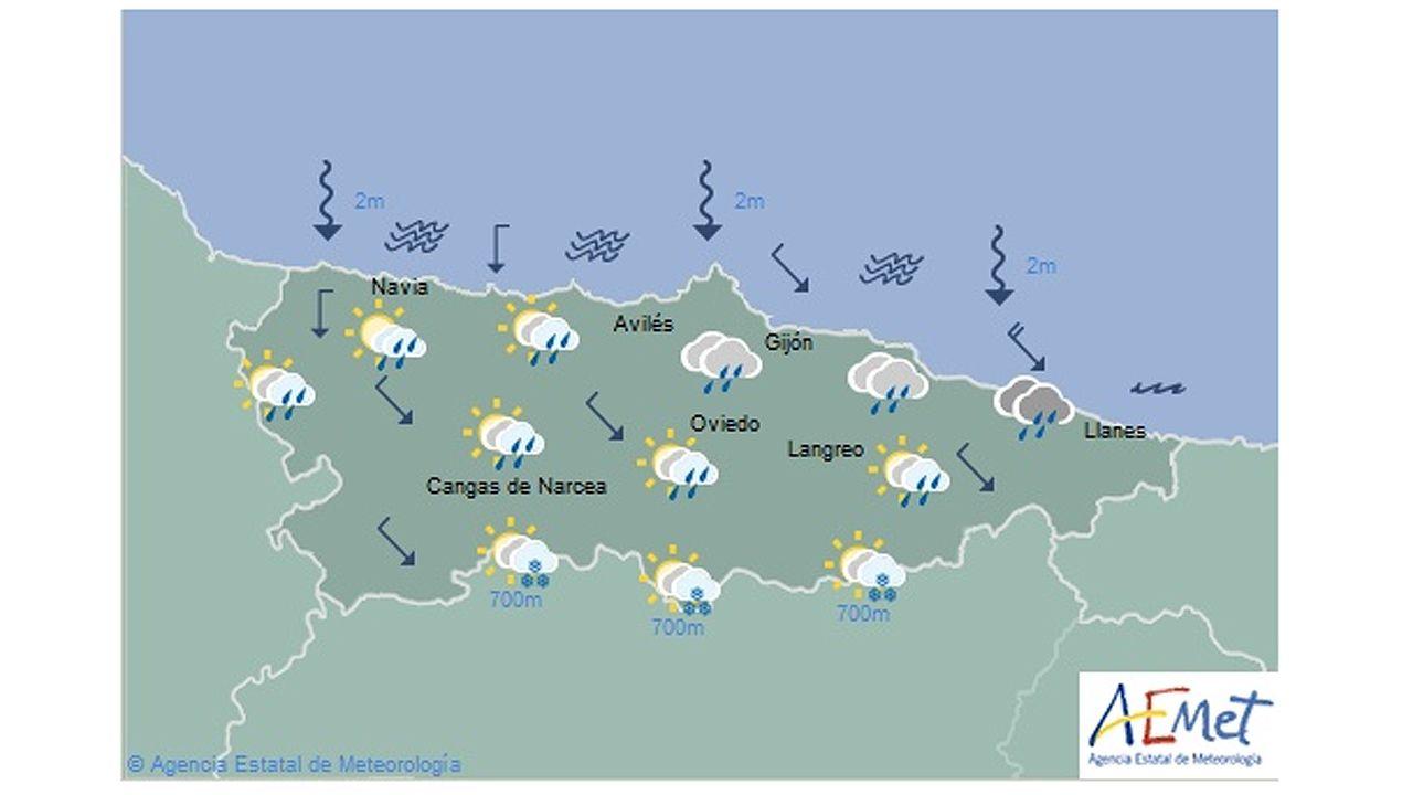 Asturias recupera la normalidad.El cartel promocional de Asturias rodeado por la nieve