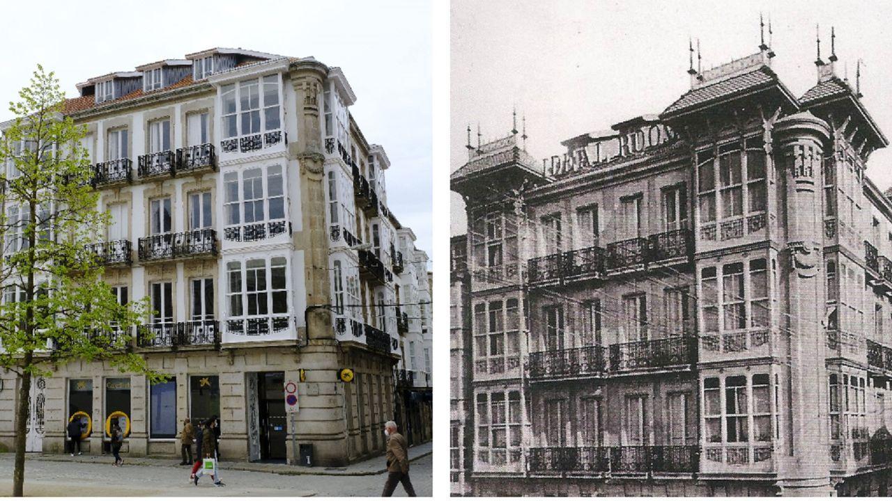 Imagen actual del edificio (a la izquierda) y la fachada original (a la derecha) con sus característicos tejadillos con chapiteles
