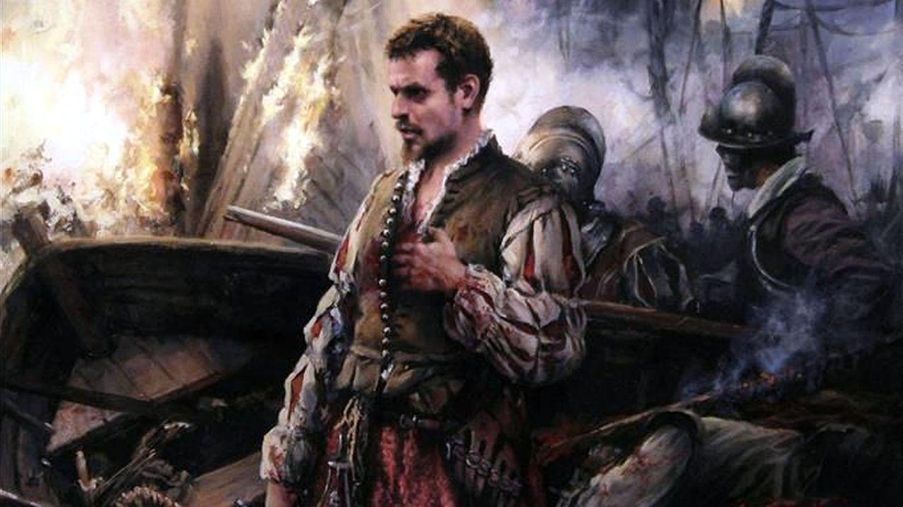 Miguel de Cervantes en Lepanto, por Augusto Ferrer-Dalmau