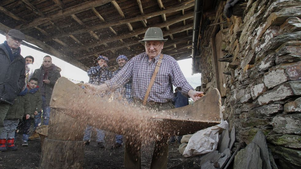 Xan de Vilar utiliza un abandoxo, el instrumento que permite acabar de separar la cáscara del fruto de la castaña