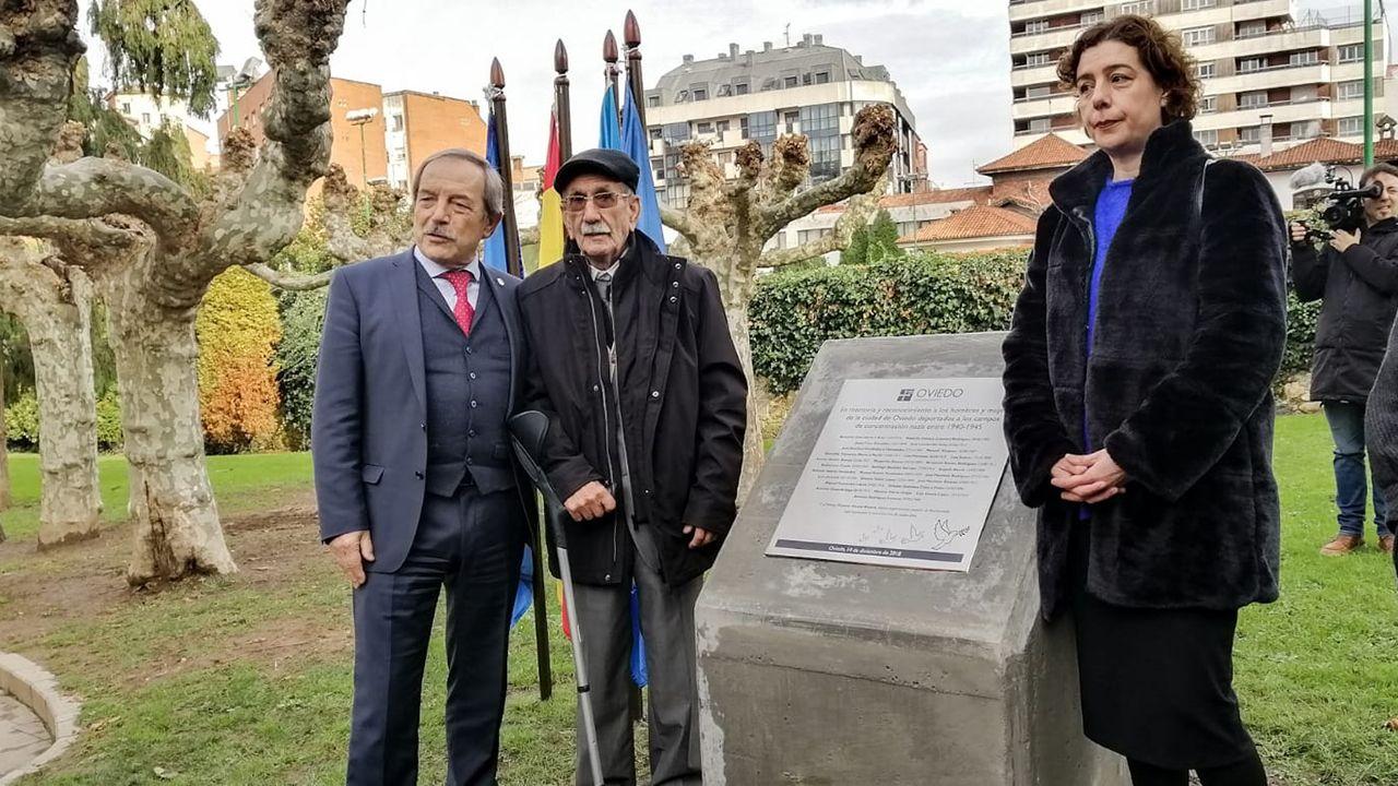 Villa Magdalena.Wenceslao López; Vicente García, superviviente del campo de concentración de Mauthausen y Cristina Pontón