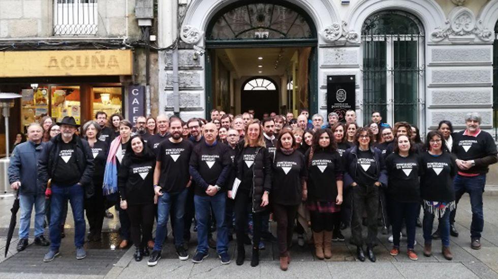 Actos del 25N en Pontevedra. Concentración de funcionarios del Concello