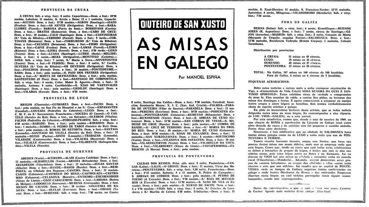 La Voz de Galicia  publicaba en 1972 as misas que se oficiaban no noso idioma en distintas parroquias de Galicia