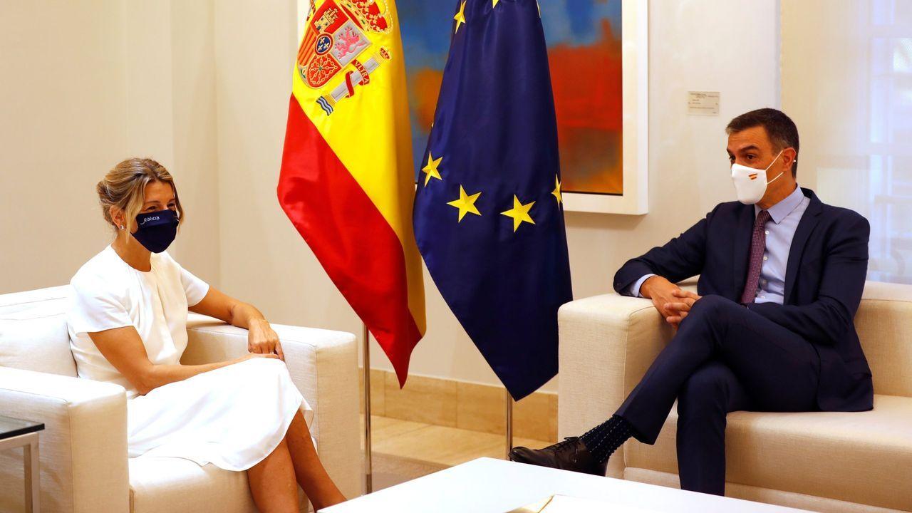 Yolanda Díaz y Pedro Sánchez, en su reunión previa al Consejo de Ministros que aprobó los Presupuestos