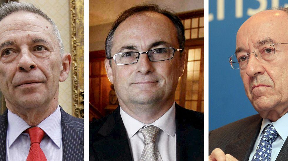 El expresidente de la CNMV, Julio Segura; el ex número dos del Banco de España, Fernando Resto, y el exgobernador de esta institución, Miguel Ángel Fernández Ordóñez