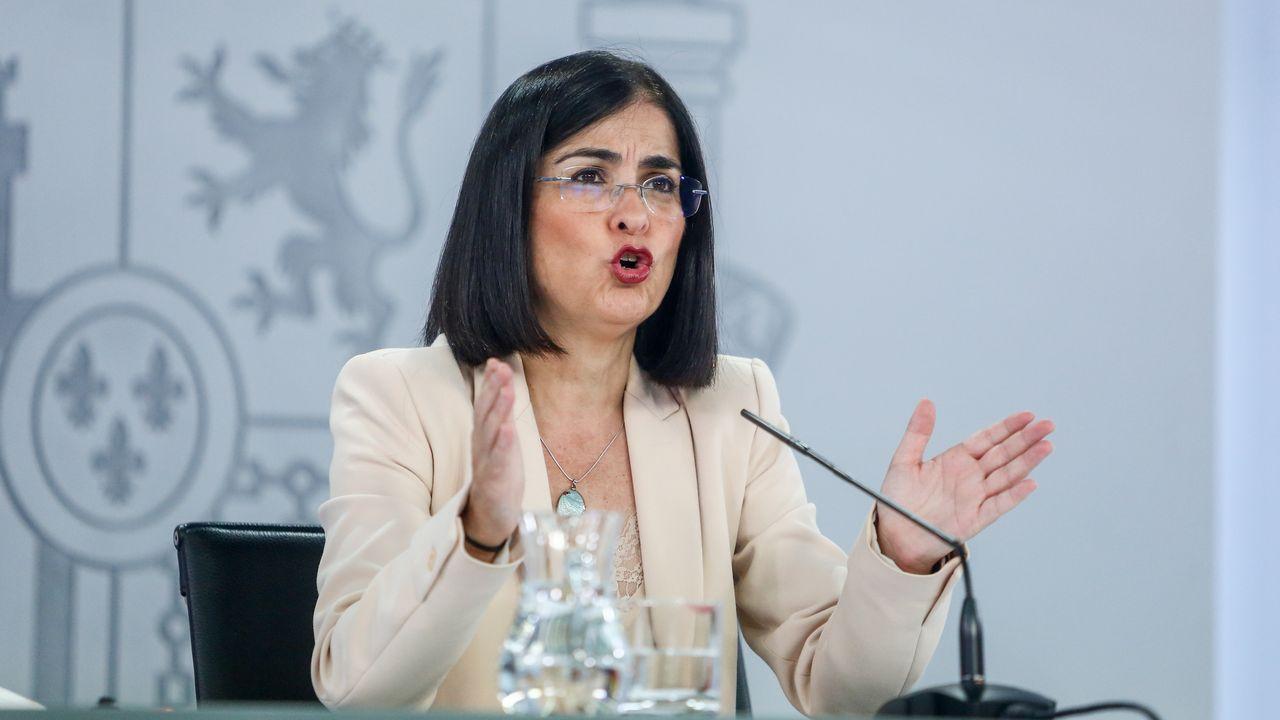La ministra de Sanidad, Carolina Darias, al término de la reunión del Consejo Interterritorial del Sistema Nacional de Salud de este martes