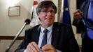 Puigdemont en su comparecencia de prensa de este lunes en Italia