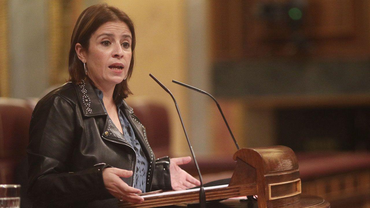 La vicesecretaria General del PSOE, Adriana Lastra, interviene en el Congreso de los Diputados.
