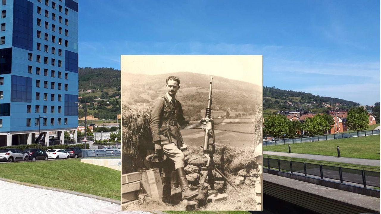 Así fue la bajada de la Morena en Laza.Imagen de un joven alférez que una investigación identifica como Alfonso Martínez, durante los inicios de la Guerra Civil, superpuesta a una foto actual de la zona de la Cadellada de Oviedo