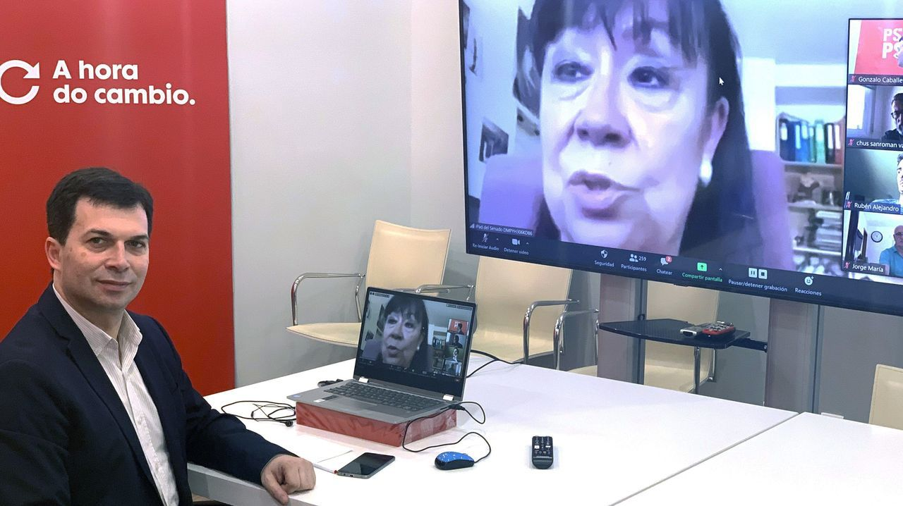 Gonzalo Caballero, con la presidenta del PSOE, Cristina Narbona