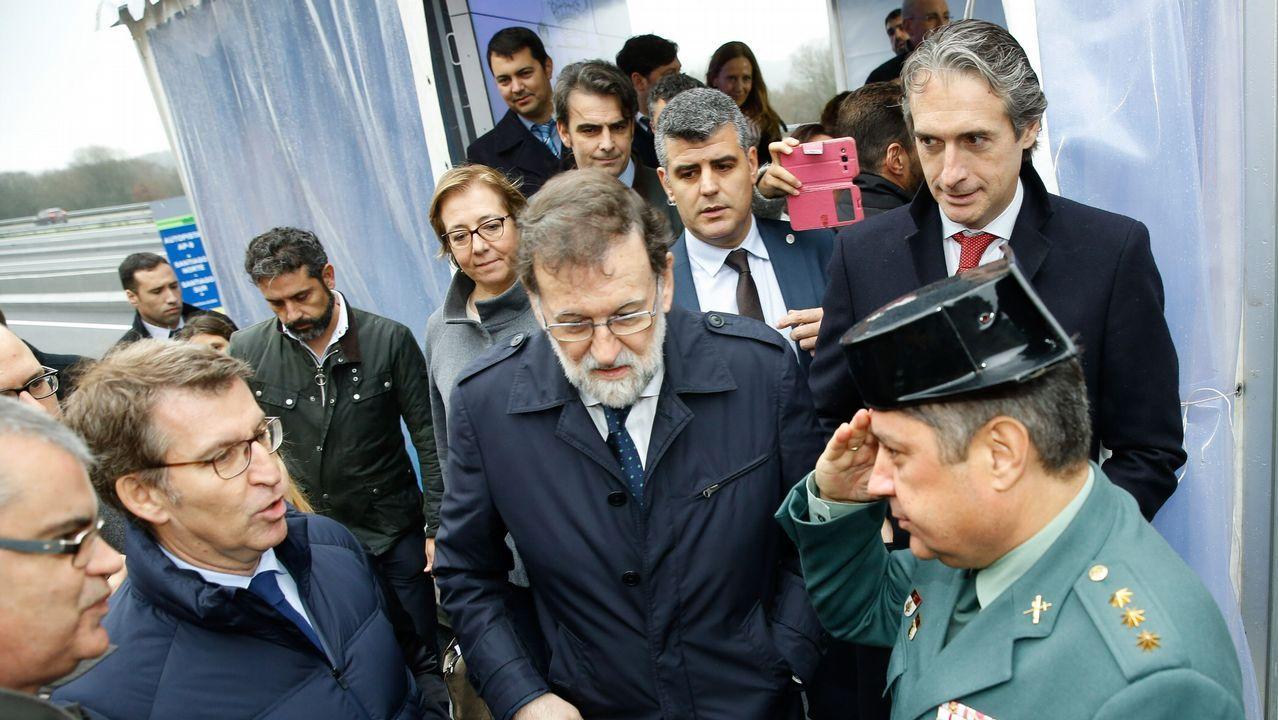 El presidente del gobierno, Mariano Rajoy, durante la inauguración de la ampliación de la autopista AP-9