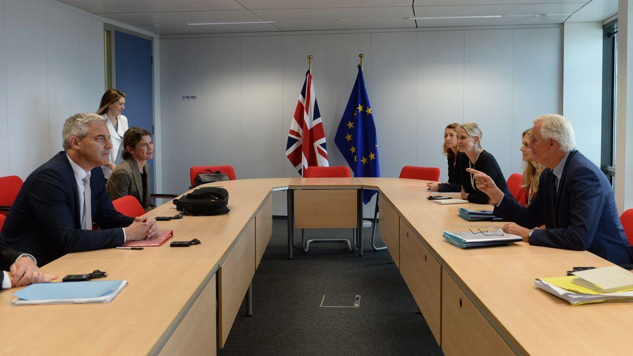 El negociador británico, Stephen Barclay, frente a su homólogo comunitario, Michel Barnier, durante la reunión del viernes en Bruselas