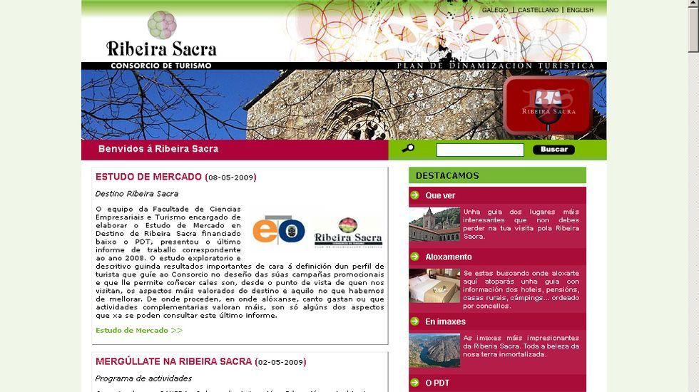 Captura de pantalla de la página web del consorcio turístico de la Ribeira Sacra