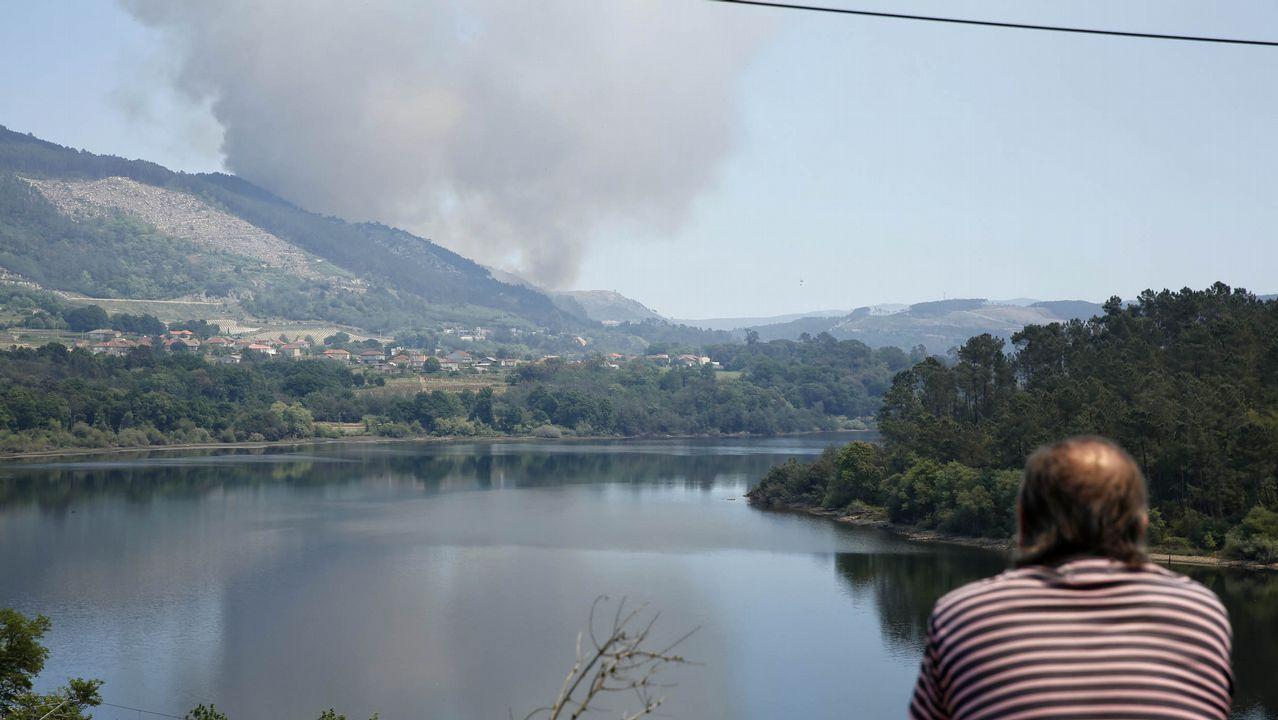 Incendio forestal en la parroquia de Laias, en Cenlle, al lado de la A-52, aparentemente provocado por un camión ayer y que calcinó 20 hectáreas de masa forestal