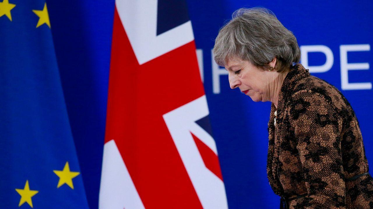 Theresa May, durante una de sus infructuosas visitas a Bruselas