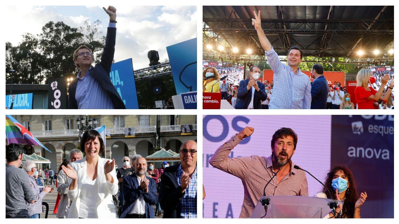 Alberto Núñez Feijoo (PP), Gonzalo Caballero (PSdeG-PSOE), Ana Pontón (BNG) y Antón Gómez-Reino (Galicia en Común)
