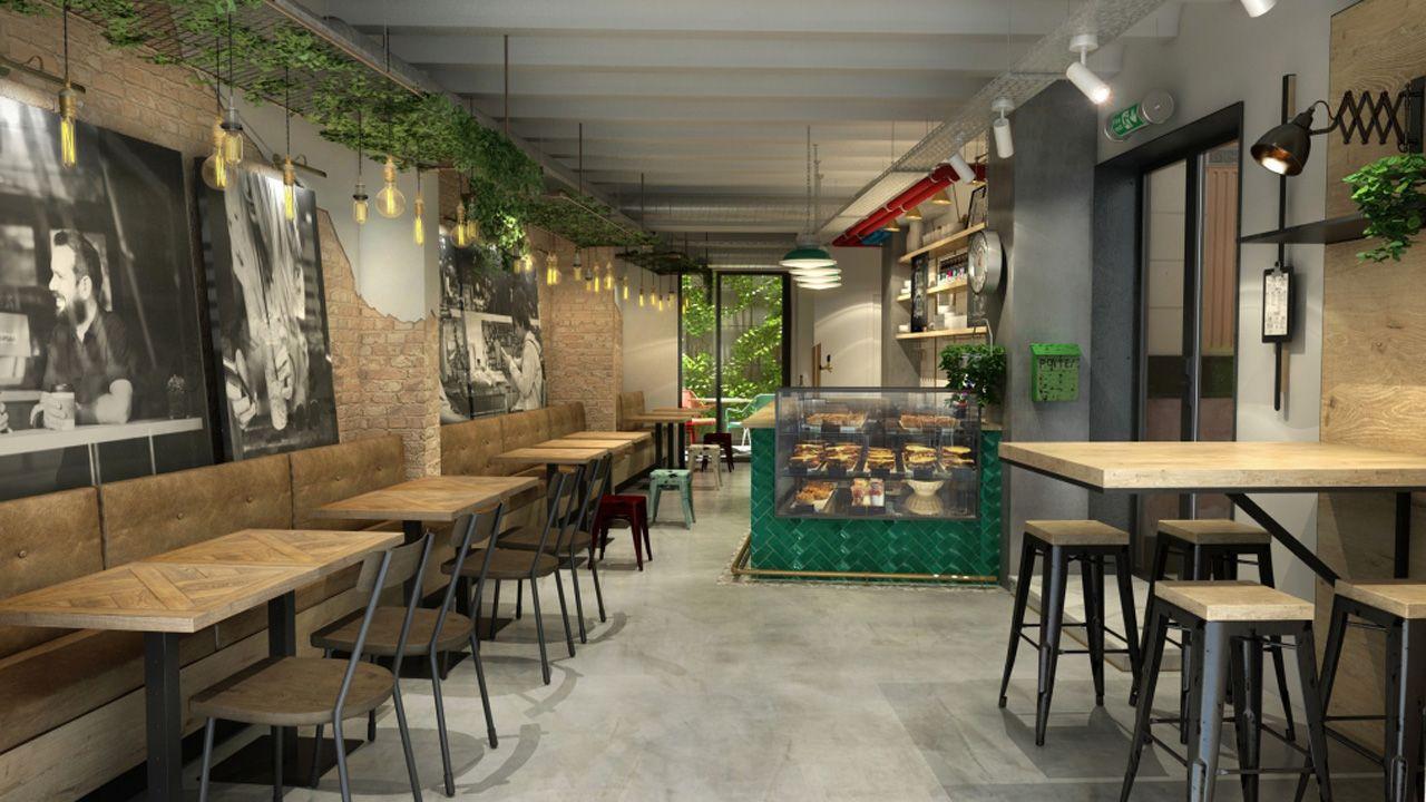 Así será la cafetería del hotel de Bcool en Oviedo, pensado como low cost para público joven