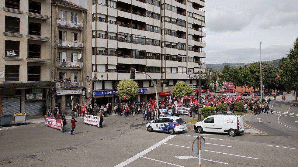 El Primero de Mayo, en imágenes.Protesta de los trabajadores de la fábrica de armas de Trubia