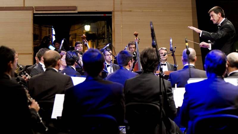 La Banda Municipal, durante su actuación