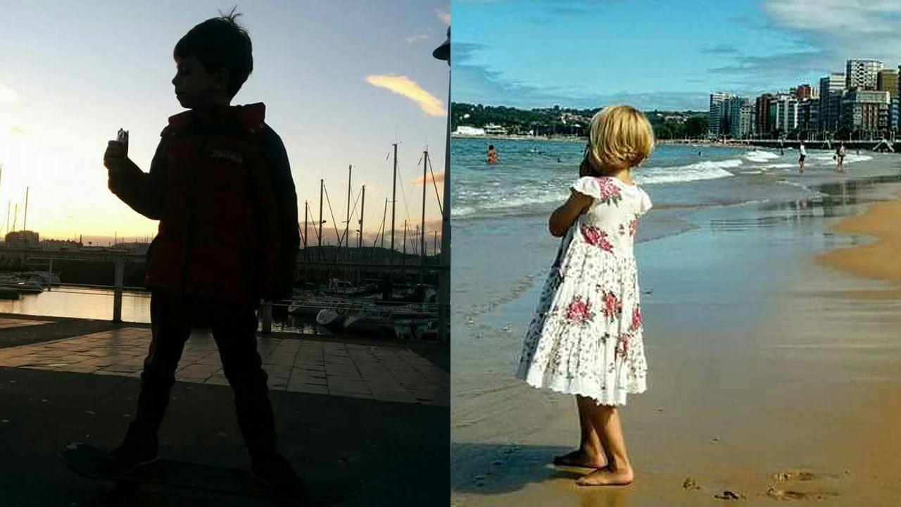 Aeropuerto de Asturias.Los nietos de Rosa Marcos durante sus vacaciones en Gijón