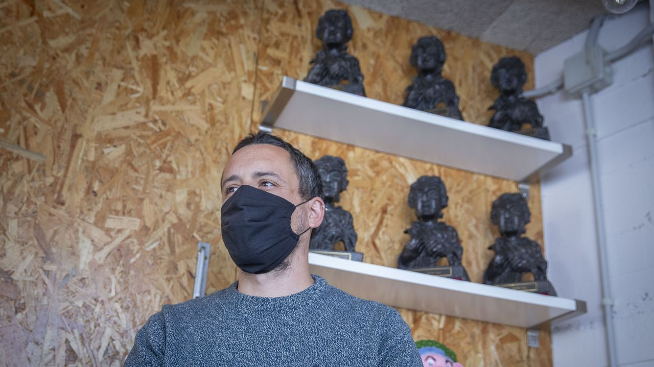 David Machado no seu estudio de son, La Panificadora, onde ten tamén un Goya, por «El Desconocido» (Dani de la Torre, 2015), un premio de Cannes e outro do Festival Internacional de Cine de Chigado por «O que arde» (Oliver Laxe, 2019)