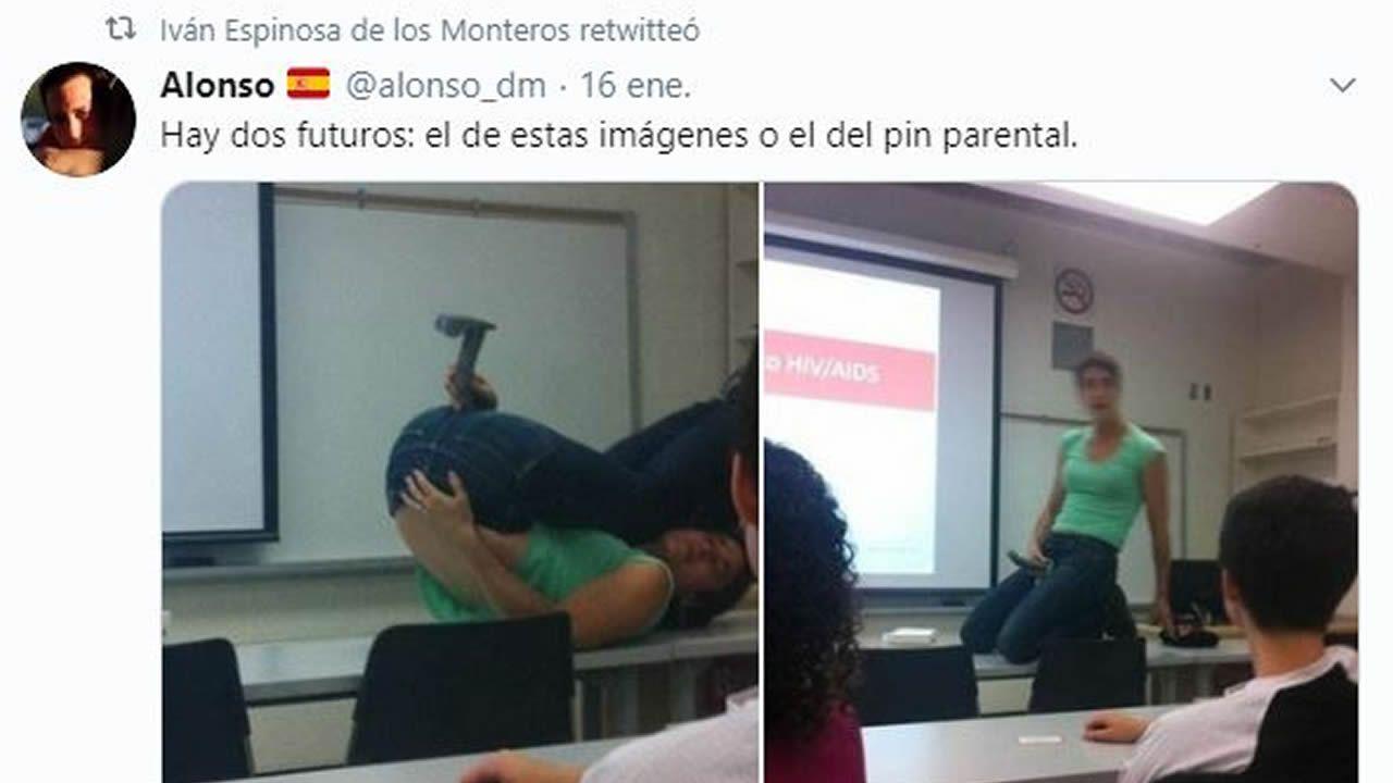 Pantallazo del timeline en Twitter de Espinosa de los Monteros, compartiendo un bulo difundido por su candidato a la alcaldía de Logroño