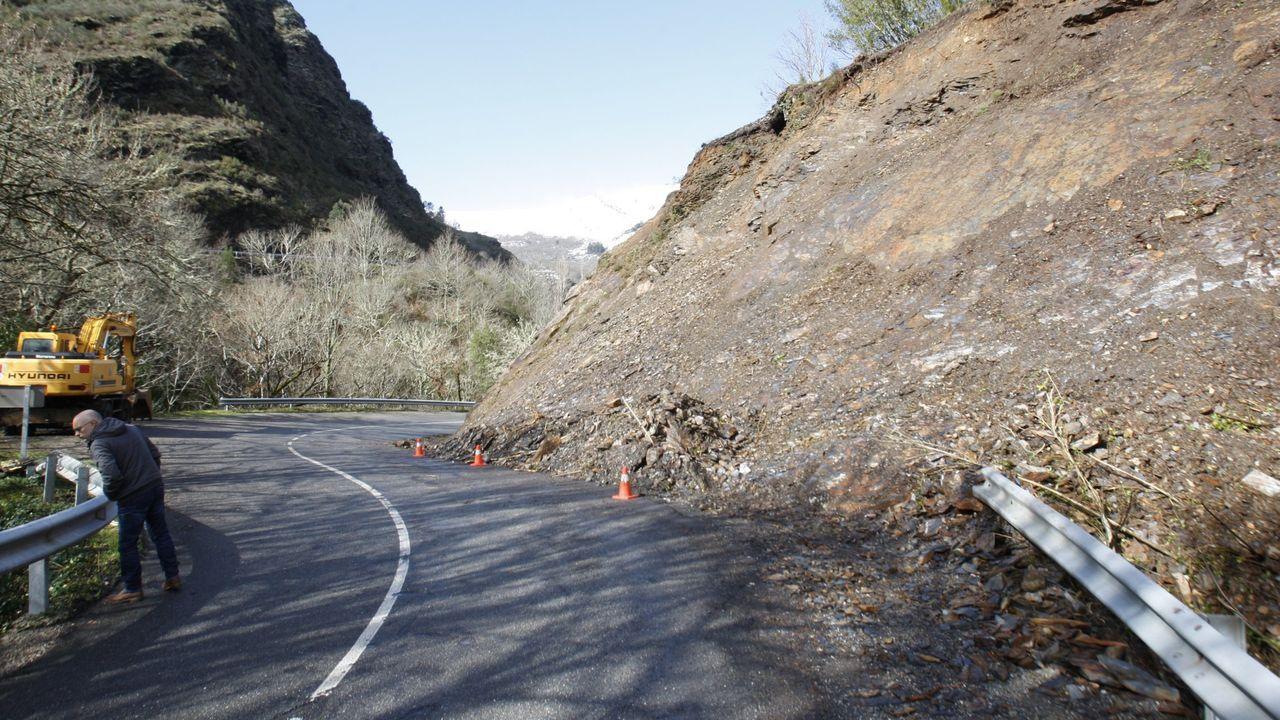 Recorrido visual por un laberinto de rocas, árboles y musgo.Un desprendimiento de tierras registrado en el 2016 en la carretera de Folgoso a Seoane, a la altura de la localidad de Ferreirós de Abaixo