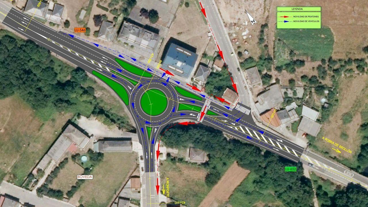 Plano de la glorieta que sustituirá en Bóveda al actual cruce de las carreteras de Lugo y A Pobra