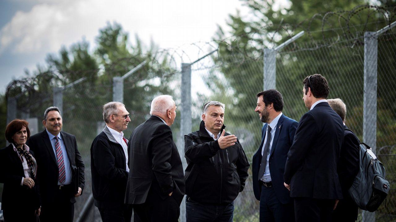 Salvini visitó con Orbán la alambrada de la frontera serbo-húngara en Roszke