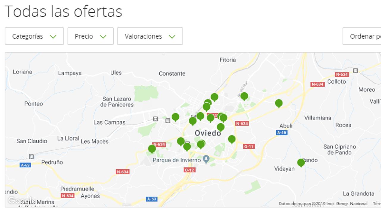 Página de ofertas y descuentos con varias opciones para Oviedo