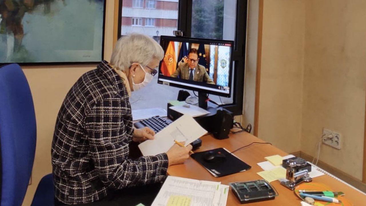 La consejera de Educación, Carmen Suárez, en una reunión telemática con el alcalde de Oviedo, Alfredo Canteli
