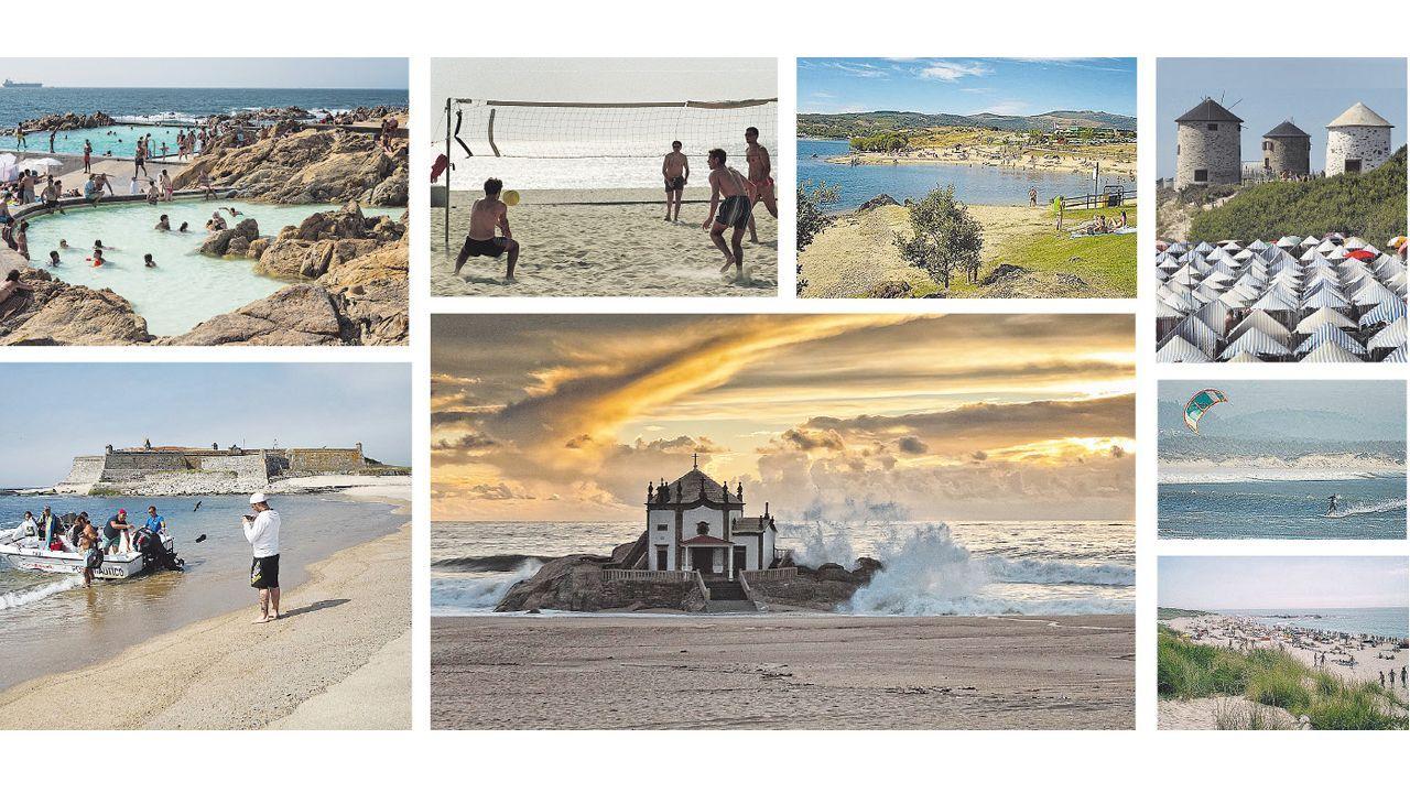 Las puestas de sol desde la playa y la montaña.Imagen de archivo de las visitas guiadas por el centro histórico de Pontevedra