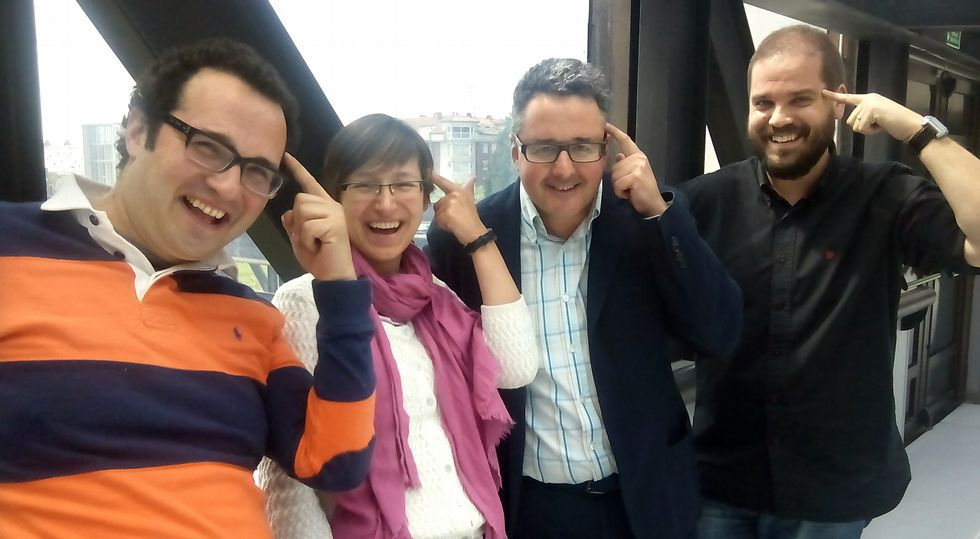 Jesús Pérez, María Isabel Míguez, José Rúas e Iván Puentes, cuatro de los ocho integrantes del grupo de investigación Necom.