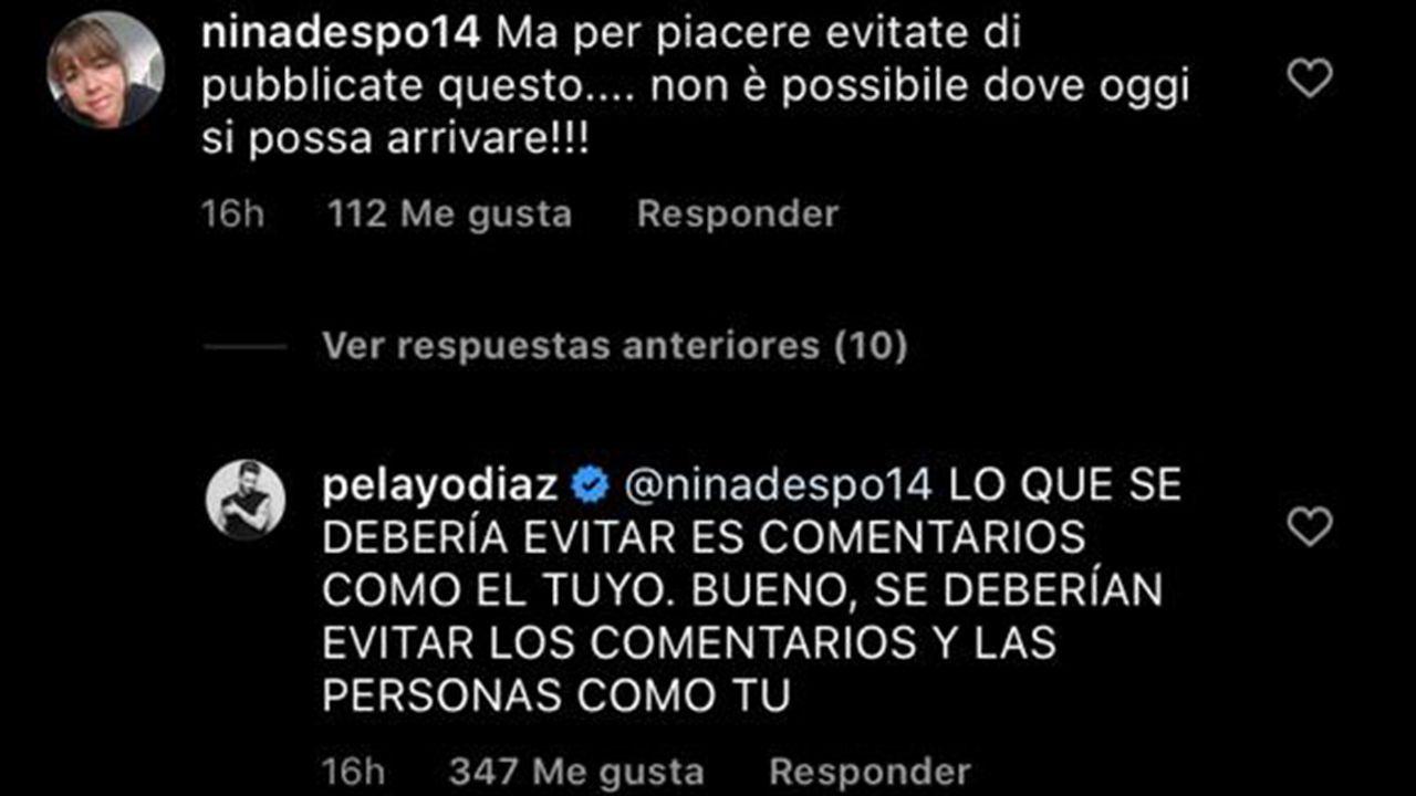 Pelayo Díaz responde un comentario homófobo
