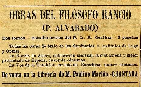 <span lang= es-es >Filosofía a cinco pesetas</span>.  Anuncio de una librería chantadina en «El Centinela», en el que se ofrecen las obras del religioso andaluz Francisco Alvarado, conocido por el seudónimo de Filósofo Rancio