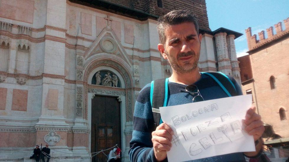 Alberto del Río, peñista de Blau Cel en Bolonia