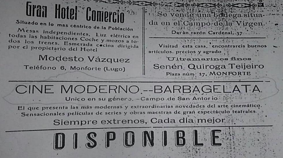 Arousa a través da Ghoma Rota de Nacho Hortas.Anuncio del Cine Moderno, que abrió en Monforte en 1916, en un períódico de la época