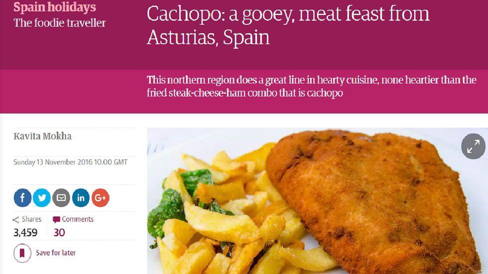 Artículo sobre el cachopo en The Guardian.Artículo sobre el cachopo en The Guardian