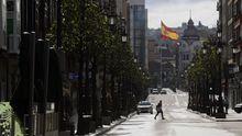 Aspecto que presenta la calle Uría de Oviedo