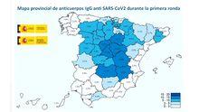 Mapa de anticuerpos contra el SARS-CoV-2 por provincias