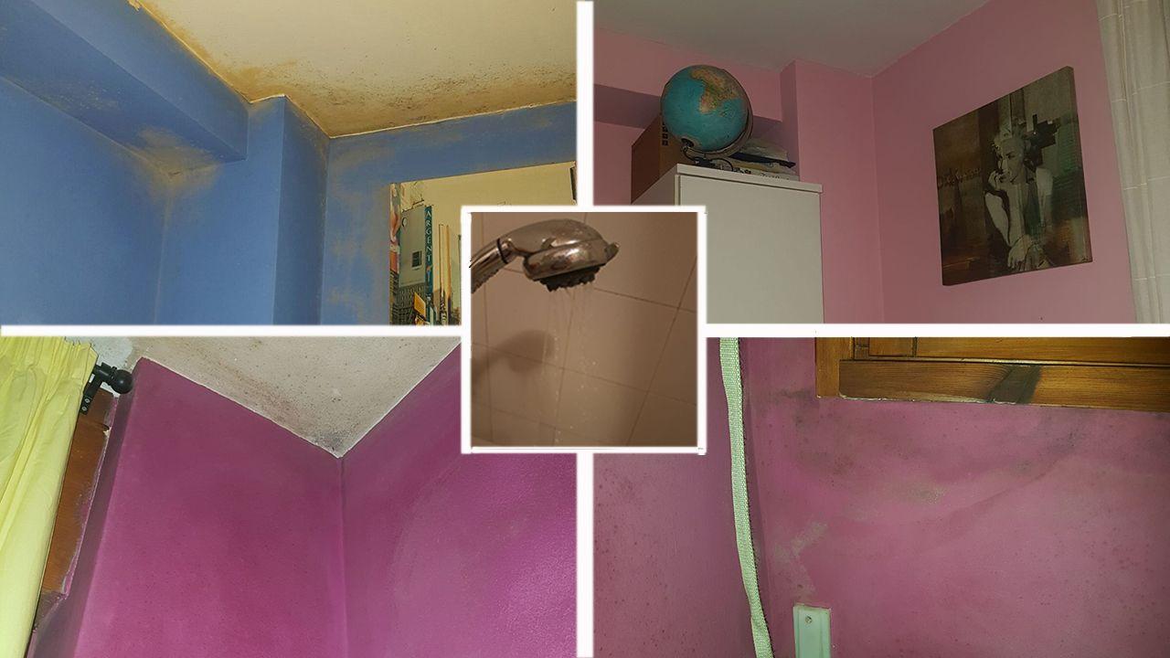 En la parte de arriba, el cuarto de las niñas antes y después de pintarlo. Abajo, la humedad de la ventana del cuarto de Pilar y otra de la pared del cuarto. En el centro, el chorro que sale de la ducha