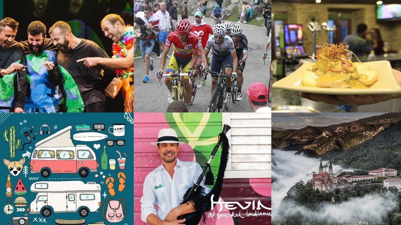 Agenda asturias Hevia tapas teatro Vuelta ciclista Covadonga.El alcalde de Caso y el viceconsejero de Cultura muestran el cartel del Día de Asturias en Caso