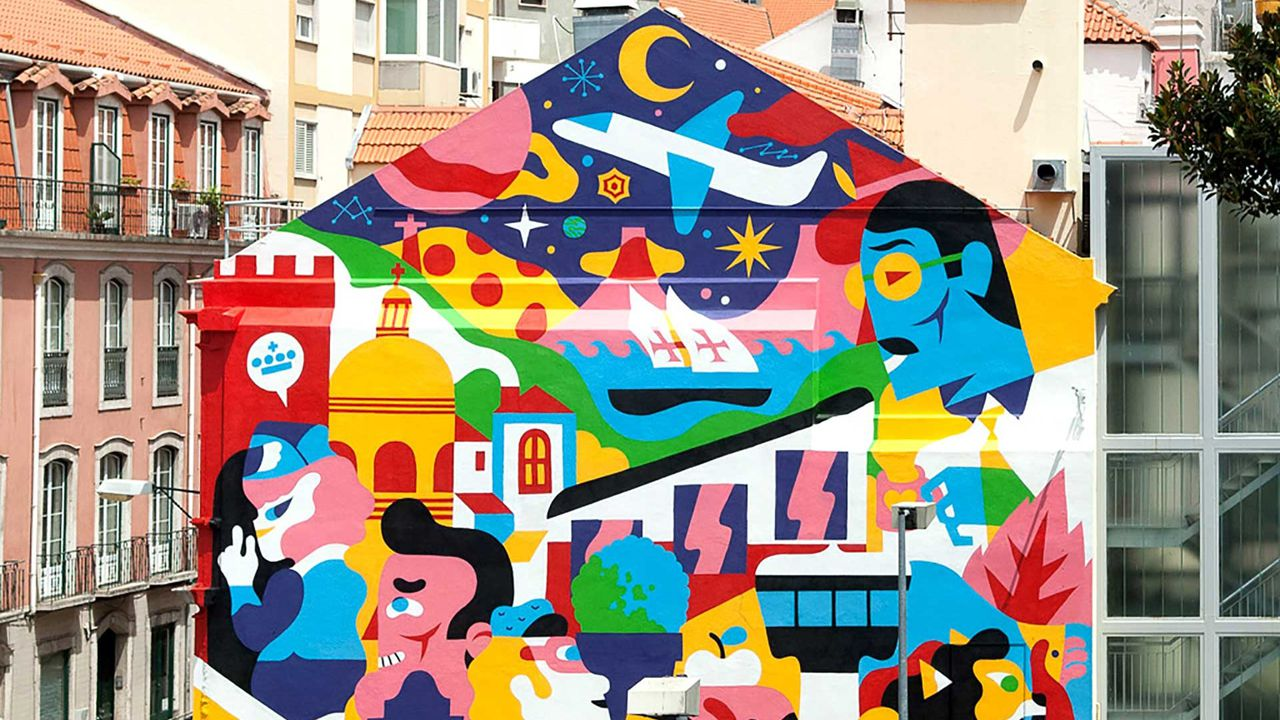 Mural realizado en la fachada de un edificio