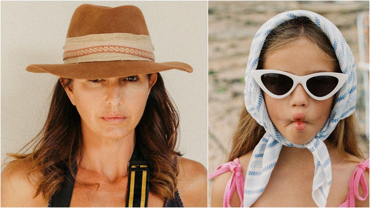 Raquel Chicheri, fotografiada para este reportaje por su hijo León. A la derecha, uno de los trabajos de la fotógrafa para la firma coruñesa The Campamento.