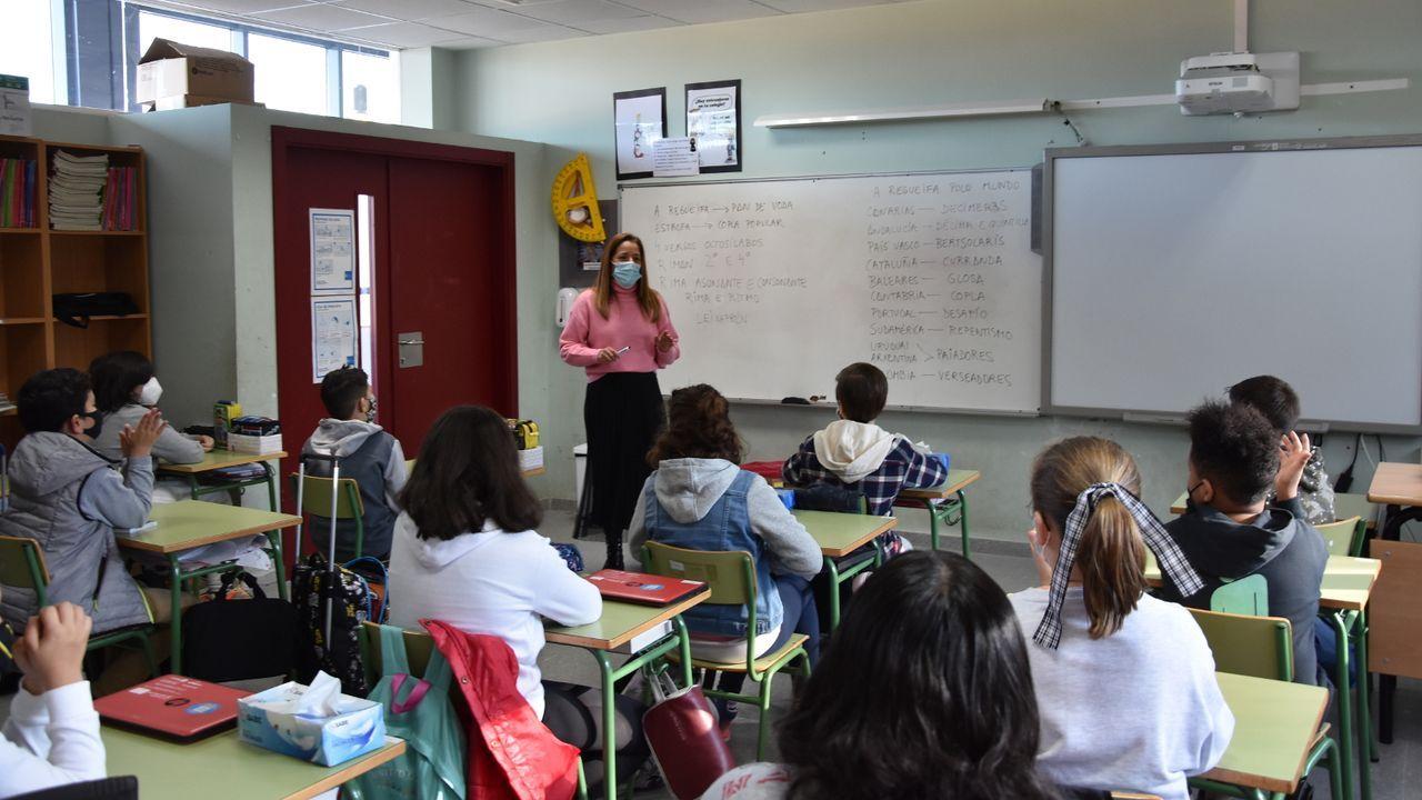 Una clase en el CEIP de Ventín, uno de los que más casos acumula en la comunidad, con ocho positivos