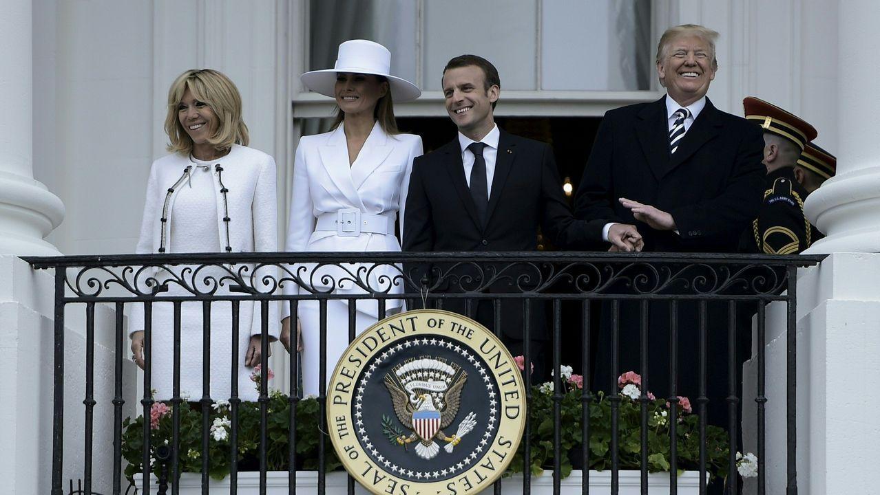Encuentro entre Trump y Melania Trump y Briggitte y Emmanuel Macron, en Washington